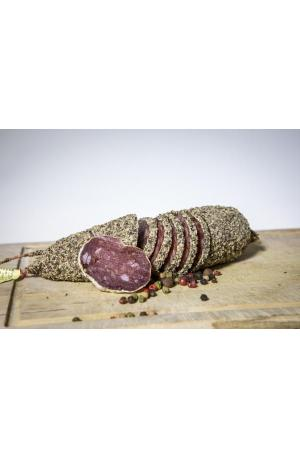 Pepper coated sausage